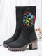 Women Casual Solid Color Paisley Pattern Chunky Heel Mid-Calf Boots - Black