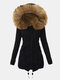 Women Solid Color Patchwork Button Knotted Hooded Casual Coat - Black