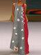 Daisy Floral Print Sleeveless Plus Size Maxi Dress - Grey
