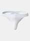 Mens Solid Color G-String U Convex Low Waist Breathable Thongs - White