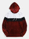 Mens Color Block Patchwork Pouch Pocket Casual Drawstring Velvet Hoodie - Wine Red