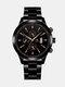 Alloy Steel Band Business Calendar Men Casual Fashion Quartz Watch - Black+Black+Rose
