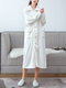Women Flannel Solid Lapel Front Button Long Sleeve Thicken Warm Robes With Pockets - White