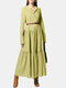 Solid Color Pleated V-neck Long Sleeve Casual Dress for Women - Green