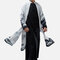 Fake Two-pieces Chinese Style Cotton Linen Chiffon Splice Long T-Shirt Trench Coat Male Casual Robe  - Black