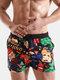 Cartoon Pattern Print Swim Trunks Funny Style Quick Drying Holiday Beachwear for Men - Black