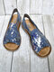 Large Size Casual Peep Toe Printing Slip On Flat Sandals For Women - Blue