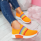 Plus Size Women Rainbow Stripe Knitted Breathable Casual Walking Shoes - Orange
