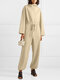 Solid Color Plain Knitted Drawstring Long Sleeve Casual Jumpsuit for Women - Beige