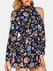 Floral Print One-shoulder Knotted Short Casual Romper for Women - Navy