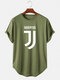 Mens Letter Print Round Neck Short Sleeve Light Casual High Low T-Shirts - Green