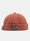 Unisex Cotton Solid Color Letter Fashion Outdoor Brimless Beanie Landlord Cap Skull Cap - Red