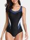 女性カラーブロックパッチワークワイヤレスワイドストラップスキニーフィットOneピース水着 - 青い