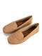 Large Size Women Comfy Soft Breathable Hollow Stitching Flat Driving Shoes - Khaki