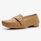 Women Metal Soft Sole Moccasins Stitching Solid Color Loafers - Beige