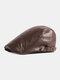 पुरुषों अशुद्ध चमड़े रेट्रो ठोस रंग ब्रिटिश शैली फॉरवर्ड टोपी बेरेट टोपी - कॉफ़ी
