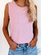 Solid Color O-neck Casual Tank Top for Women - Pink