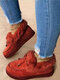 Large Size Comfy Suede Butterfly Warm Plush Stitching Round Toe Slip On Platform Snow Ankle Boots For Women - Wine Red