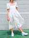 Solid Color Patchwork Puff Collar Half Sleeves Casual Dress - White