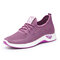 Women Mesh Beathable Lace Up Casual Flat Shoes - Purple