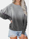 Tie-dyed Print Long Sleeve Casual T-Shirt for Women - Gray