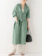 Women Solid Color Knotted Button Lapel Collar With Pocket Casual Coat - Green