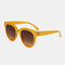 Women Vintage Classical Full Frame Round Shape Summer UV Protection Sunglasses - Yellow