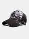 Unisex Tie-dye Cotton Letters Line Drawing Fox Embroidery Fashion Sunshade Baseball Cap - Black