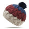 Women Winter Warm Stitching Beanie Hat With Fur Pompom Windproof Ear Warm Knitted Hat - Navy