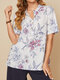 Calico Print Buttons Short Sleeve Casual Lapel Blouse for Women - White