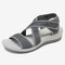 LOSTISY Cloth Opened Toe Cross Strap Casual Wedges Sandals - Gray