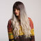 26 polegadas sintéticas perucas moda gradiente cor longo encaracolado cheio bangs Cabelo perucas para mulheres