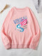 Letter Print O-neck Long Sleeve Loose Casual Sweatshirt For Women - Pink