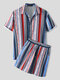 Mens Colorful Stripe Print Button Up Holiday Two Pieces Outfits - Blue