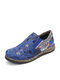 Socofy Retro Floral Print Splicing Flats Elastic Band Soft Slip On Loafers Shoes - Blue