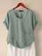 Casual Solid Color Patchwork Plus Size T-shirt - Green