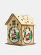 1Pc Christmas Wooden Christmas Lighted Wooden Cabin Creative Assembly Small House Decoration Luminous Colored Cabin - #01