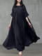 Women Solid Color Patchwork Half Sleeves Casual Maxi Dress - Navy