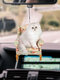 1PC Acrylic Cute Car Rearview Mirror Cat Kitty Pendant Home Hanging Ornament Backpack Keychain Accessories - #04