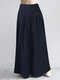 Casual Solid Color Plus Size Wide Leg Pants with Pockets - Navy
