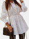 Solid Color Knotted Button Causal Shirt For Women - White