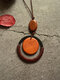 Wood Vintage Ethnic Circle-shape Long Necklace Pendent - Coffee
