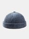 Unisex Cotton Solid Color Letter Cloth Label All-match Warmth Brimless Beanie Landlord Cap Skull Cap - Blue