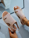 Women Solid Color Knitted Breathable Comdortable Summer Sandals - Khaki