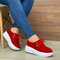 Women's Soft Lace-up Casual Large Size Wedges Sports Shoe - Red