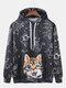 Mens Cat Allover Starry Sky Print Casual Kangaroo Pocket Drawstring Hoodies - Black