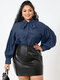 Solid Color Puff Sleeve Knotted Long Sleeve Casual Blouse for Women - Navy