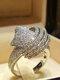 Trendy Geometric Metal Diamond Rings Temperament Rhinestone Rings - #03