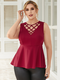 Casual Hollow Out Sleeveless Plus Size Tank Top - Red