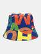 Lettera in cotone unisex Modello Stampa Colorful Cappello da pescatore fashion - blu